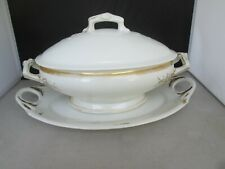 Gold Trim Tureen with Underplate & Lid marked GD 8 369