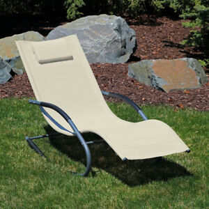 Sunnydaze Outdoor Rocking Wave Lounger with Pillow - Lawn and Patio - Beige