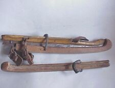 Antique CONDO Wood Ice Skates w Wood Blade Guards