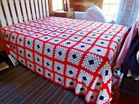Huge Red White and Blue Granny Square Afghan Queen King Size Homemade Bedspread