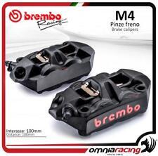 Brembo Racing 2 pinze radiali nere monoblocco fuse M4 100 INT 100mm SX+DX + past