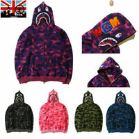 A/Bathing Ape BAPE Men's Shark Jaw Camo Full Zipper Hoodie Sweats Coat Jacket UK
