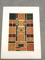 Medieval Floor Tiles Gothic Clay RACINET Antique Chromolithograph Print