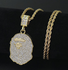 "Men Hip Hop 14K Yellow Gold Plated Iced Out Bling Bape Ape Pendants 29"" Chain"