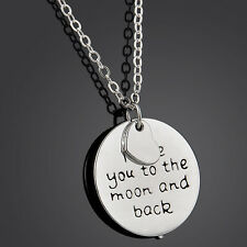 Stylish Chic I Love You to the Moon and Back Pendant Statement Necklace Jewelry