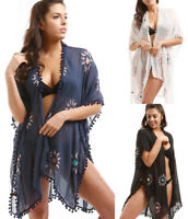 BOHO Floral Embroidered Kimono Loose Shawl Cover Up Wrap Gypsy Open Front Top