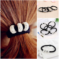 2/4/5/10Pc Crystal Elastic Hair Ties Band Ropes Ring Ponytail Holder Accessories
