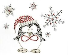 Christmas Penguin Snowflakes Rhinestone Bling Hot Fix Iron On Transfer Motif