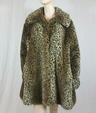 Faux Fur Leopard Animal Print Warm Coat Big Collar Size UK 14 Vintage Pockets