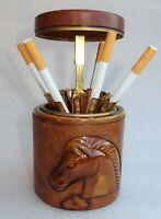 Pot distributeur de cigarettes vintage 1960 grès gainé de cuir et laiton