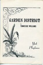 Tennessee Williams Garden District York Playhouse 1958 Premier Show Playbill