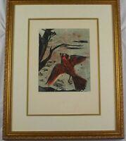 Vintage Original Woodblock Print One Soaring Bird by Ben Nason Listed