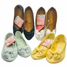 Sam & Libby Chelsea Ballet Flats shoes bow & round toe Black, White Green Yellow