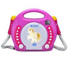 Bobby Joey CD-Player für Kinder mit 2 Mikrofonen zum Mitsingen MP3, SD, USB pink