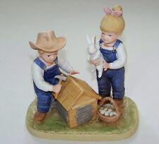 c1985 Homco: Denim Days - Bunny Hutch - Debbie & Danny Build Rabbit House #1514