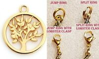Tree of Life Gold Charm For Bracelet Pendant Traditional Dangle Clasp Lobster