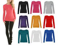 New Womens Long Sleeve Round Neck Plain Basic Ladies Stretch T-Shirt Top 8-14