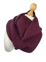 Maroon Red Circle Infinity Neck Ladies Woolly Knitted Boho Scarf Snuggly