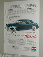 1949 Plymouth ad, Plymouth Special De Luxe Sedan