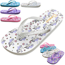 NEW Kids Sandals Girls Unicorn Print Glitter Thong Flip Flops Youth Size 12 to 4