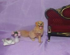 Golden retriever 2 dog Handsculpted OOAK 1:12 realistic dollhouse miniature IGMA