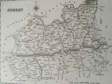 1845 Surrey Original Antique Engraved Map UK County Vintage England
