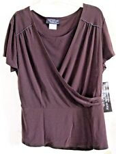 NEW YORK CITY DESIGN BLOUSE 10 CROSS OVER DARK BROWN BEADED NWT