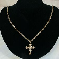 Vintage Rhinestone Rosary Cross Pendant and Chain