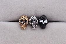 Men Women Titanium Stainless Steel Ear Stud Earring Punk Boy Skull  Skeletons
