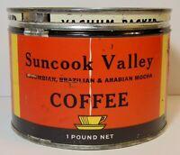 Vintage 1950s Suncook Valley KEYWIND COFFEE TIN 1 ONE POUND Center Barnstead NH