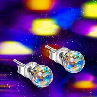 Iridescent Aurora Borealis Crystal Round Stud Earrings Wedding Prom Pageant