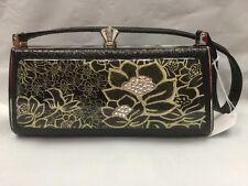 Debbie Brooks Black Silver Clasp Handbag Evening Bag Handle New GEM Flowers Gold