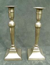 """Antique Early 19thC Pr Classical Brass Column Candlesticks 9"""""""