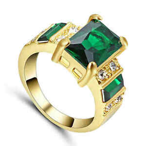NEW! Jewelry Ring Size 6 Emerald Women's yellow Rhodium Plated Wedding Band