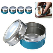 12X Magnetic Spice Tins Blue Stainless Steel Jar Storage Container w/ Clear Lid