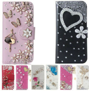 Bling Crystal Magnet Rhinestone Leather Wallet Case Stand Flip Phone Cover strap
