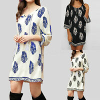 Oversize Femme Plage Simple Floral Dress Col V Manche 3/4 Party Club Robe Mini