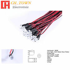 20pcs 3 5mm DC 9-12V Pre-Wired Water Clear Flicker Flicking White Red LED Diodes
