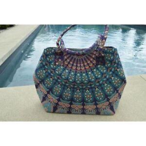 Indian Pretty Peacock Mandala Handmade Shoulder Carry Bag Cotton Women Handbag01
