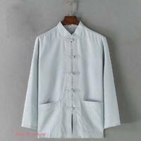 Mens Chinese Cotton Linen Tang Suit Shirt Kung Fu Tai Chi Wing Chun Coat Uniform