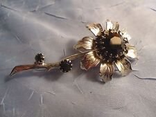 Vintage  Flower Brooch with Small-Med-Large Black Faceted Stones