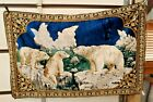 VINTAGE ITALIAN LARGE TAPESTRY / WALL HANGING POLAR BEAR & CUBS  74x48