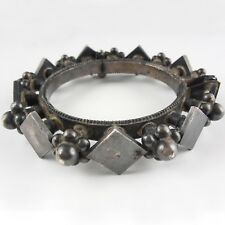 Brutalist Pewter Bangle Bracelet - Mid Century Design At Its Best - Handcrafted