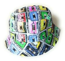 Colorful Retro Cassettes bucket sun hat  festival outdoor Vintage style
