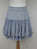 MISA Ladies Blue/White Striped 100% Cotton Tasselled Stretch Waist Skirt Size XS