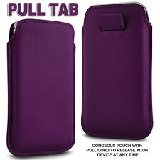 PREMIUM SOFT PU LEATHER PULL FLIP TAB CASE COVER POUCH FOR VARIOUS MOBILE PHONES