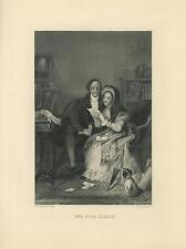 ANTIQUE LAWYER CLIENT DESK BOOKS BEAUTIFUL WOMAN PARASOL PUPPY DOG OLD ART PRINT