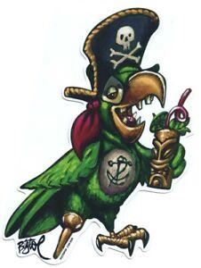 Party Pirate Parrot STICKER Decal Artist Big Toe BT70
