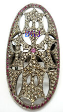 Antique Rose Cut Victorian Look Jewelry 925 Sterling Silver Diamond Ruby Ring