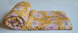 Indien Handmade Kantha Couvre Lit Jeté de Coton Floral Imprimé Literie Housse